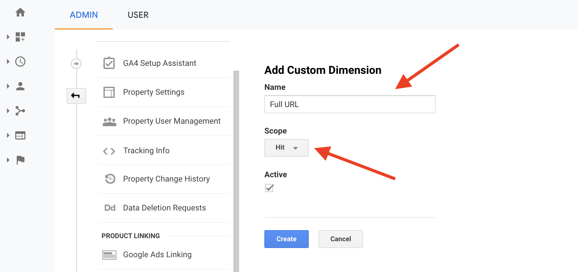 Create GA360 Full URL custom dimension