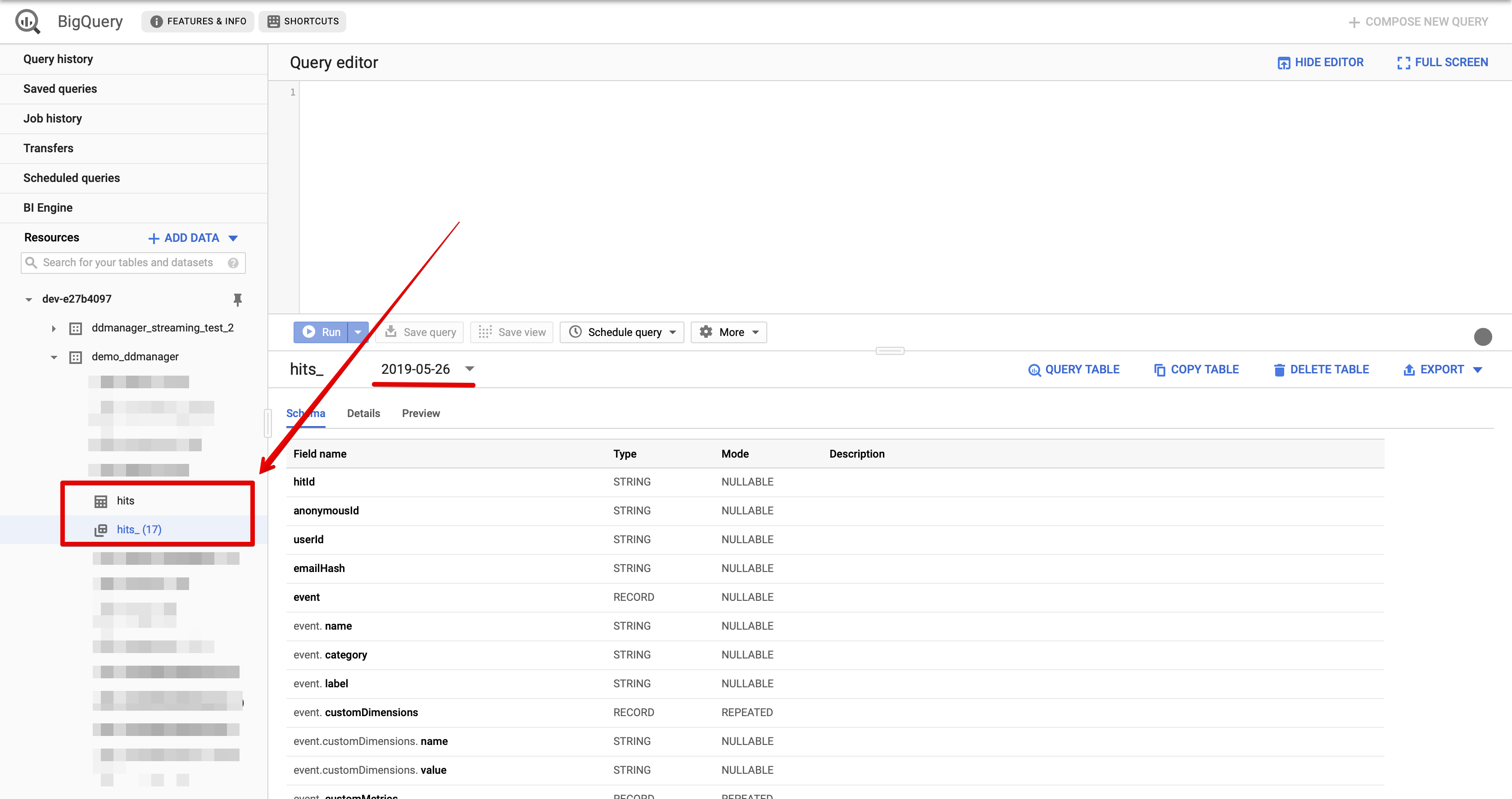 Image shows how hits table is created in Google BigQuery