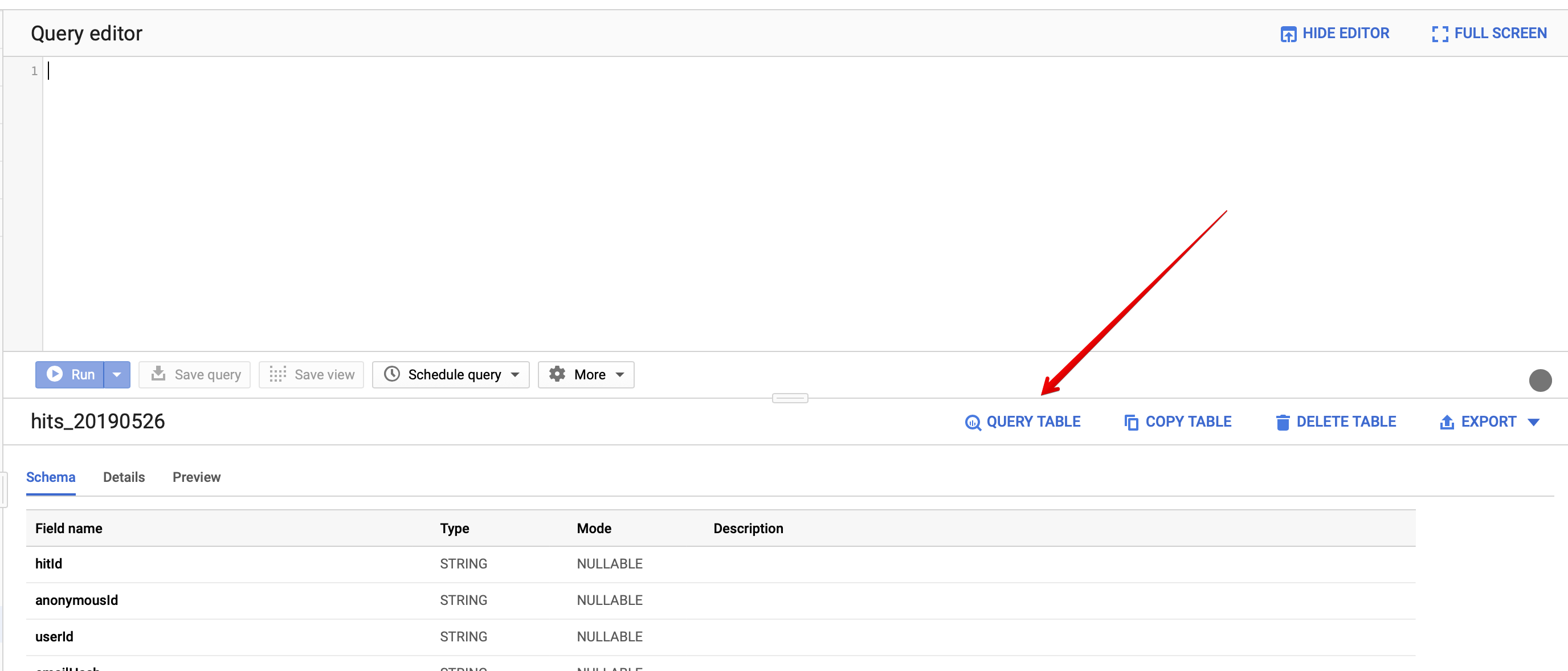 Image shows how to query BigQuery table