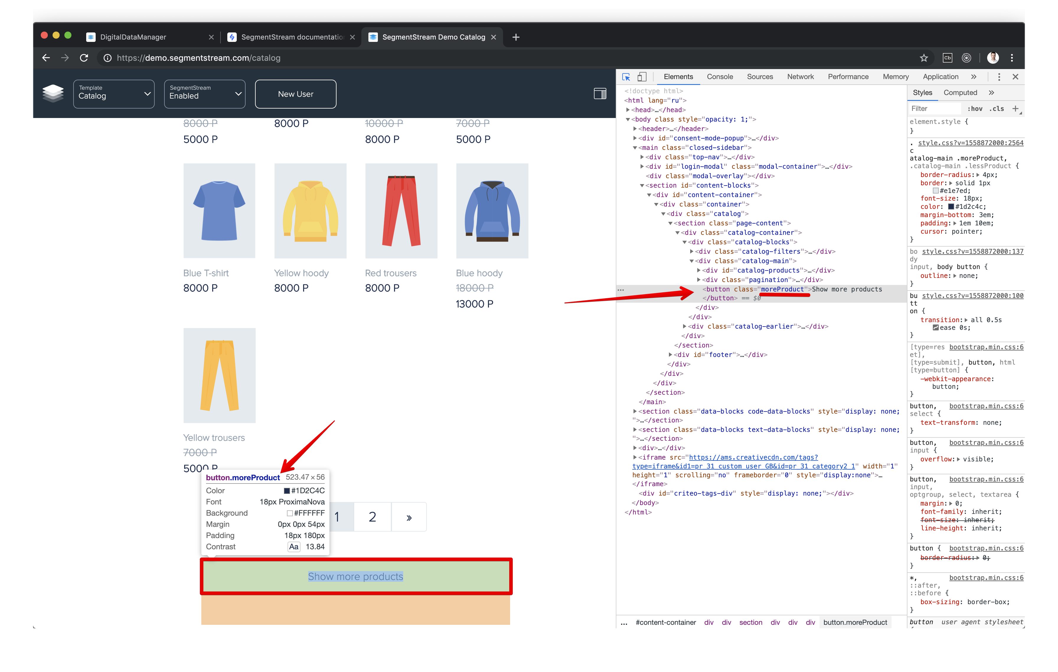 Image shows how to find a CSS selector in Google Chrome console